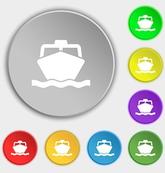 Boat icon sign symbol on five flat buttons vector