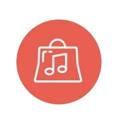 Shopping bag with musical note thin line icon vector