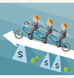 Businessman riding a long bicycle on white arrow vector