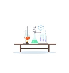 Biology laboratory workspace and science equipment vector
