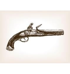 Vintage pistol sketch style vector