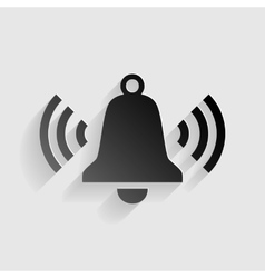 Ringing bell icon black paper with shadow on gray vector