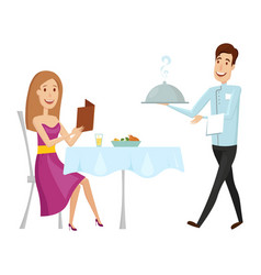 a waiter with a hot dish in the restaurant on a vector image