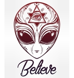 Alien face icon vector image vector image