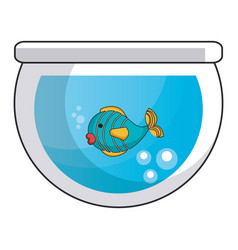aquarium glass with cute fish vector image