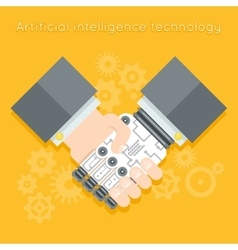 Artificial intelligence Businessman and robot vector image vector image