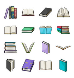 Books set icons in cartoon style big collection vector