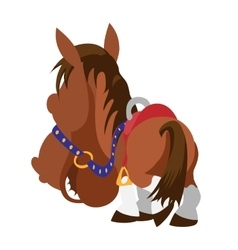 Cartoon brown horse view from horse back vector