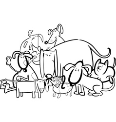 Cartoon group of dogs for coloring vector