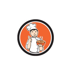 Chef cook carrying bowl circle cartoon vector