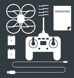 Complete set for quadrocopter flat icons vector