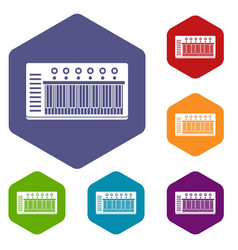 Electronic synth icons set hexagon vector