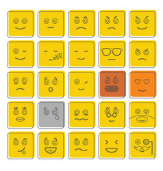 emoticon icons set doodle style vector image