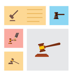 Flat icon lawyer set of government building court vector