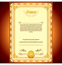 Golden Certificate Background vector image