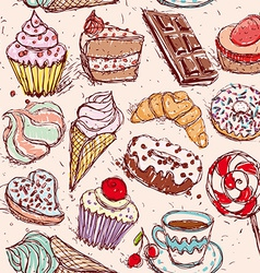 Hand drawn confectionery seamless pattern vector image vector image