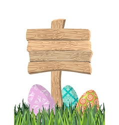 Happy Easter Green grass Colorful Easter eggs vector image vector image