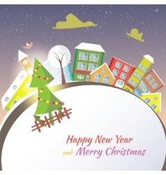 Happy New Year greeting card - snowy street vector image