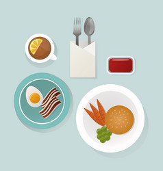 Healthy breakfast food top view vector