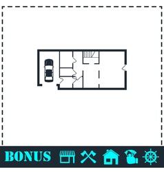 House plan icon flat vector