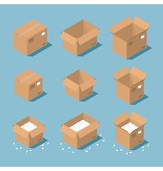 Isometric parcel box vector