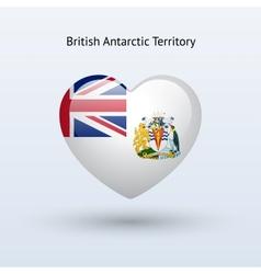 Love british antarctic territory symbol heart flag vector