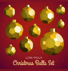 Low poly marry christmas balls set vector