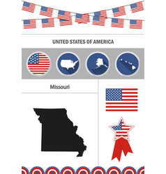 Map of missouri set of flat design icons vector