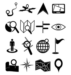 Maps navigation icons set vector image vector image