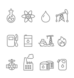 Oil and petrol industry line icon set Tanker and vector image vector image