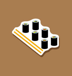 Paper sticker sushi and sticks vector