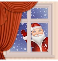 Santa claus looking through window vector