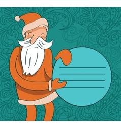 santa with circle banner vector image vector image