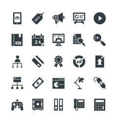 Seo and internet marketing cool icons 4 vector