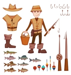 Set with fisherman and fishing some objects vector