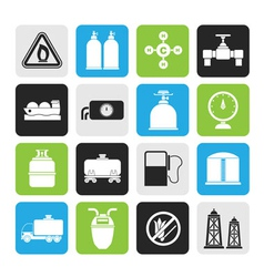 Silhouette Natural gas objects and icons vector image