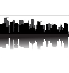 Silhouette of the city from the river vector image vector image