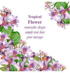 watercolor tropic floral beauty card vector image vector image