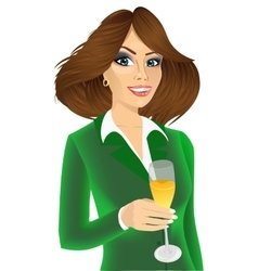 young attractive businesswoman toasting vector image