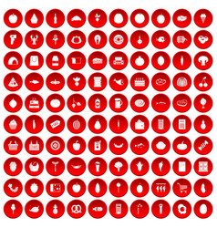 100 grocery shopping icons set red vector