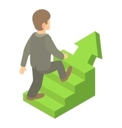 Businessman running up career ladder icon vector