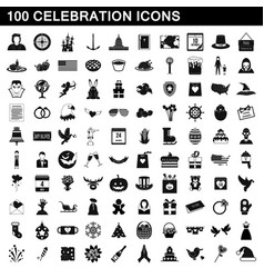 100 celebration icons set simple style vector image