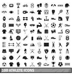 100 athlete icons set simple style vector image