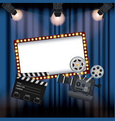 Color background stage cinema curtain with vector