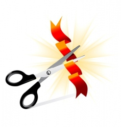 art of scissors cutting ribbon vector image