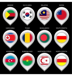 Map marker with flag-set fourteenth vector