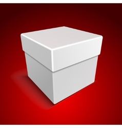White blank paper close gift box on red background vector