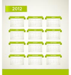 Vintage retro calendar 2012 vector