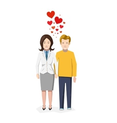 Couple in love with heart symbols flat vector