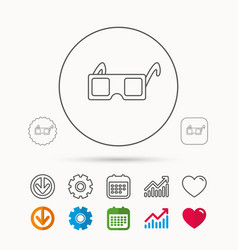3d glasses icon cinema technology sign vector
